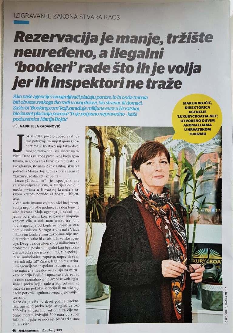 Interview with Marija Bojcic in local magazine Apartmani 2019.
