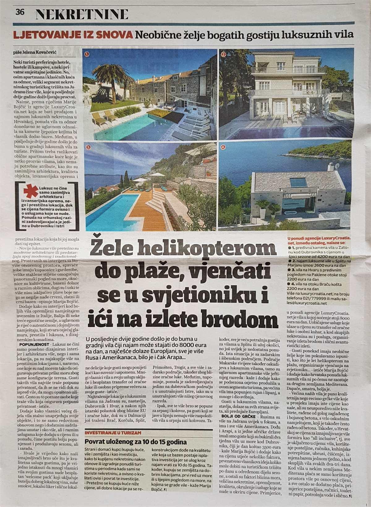Interview about tourism with Marija Bojcic, National daily newspaper Jutarnji, Real Estate, August 2017.