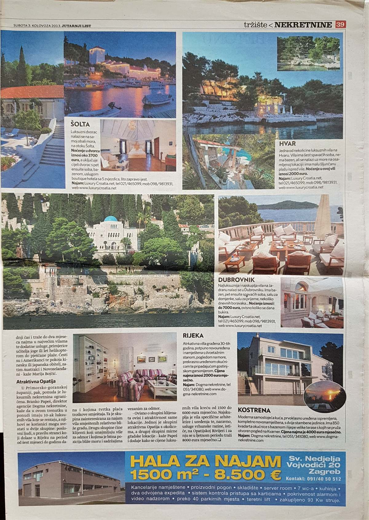 Interview with Marija Bojcic about Croatian villas rent, National daily newspapers Jutarnji Real Estate, August 2013. page 2
