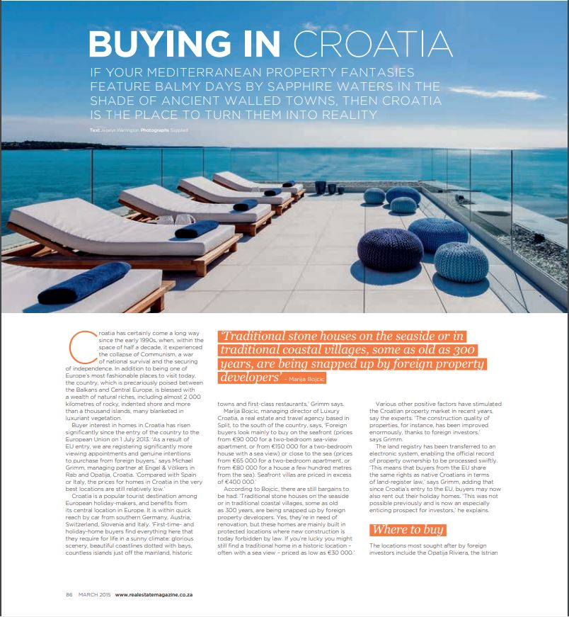 Interview with Marija Bojcic about real estate in Croatia, ESTATE magazine from South Africa, March 2015.